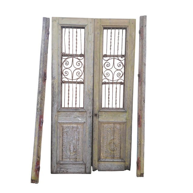 Antique French Iron Grill Door Rustic Farmhouse Natural Doors - a Pair For Sale - Image 11 of 11