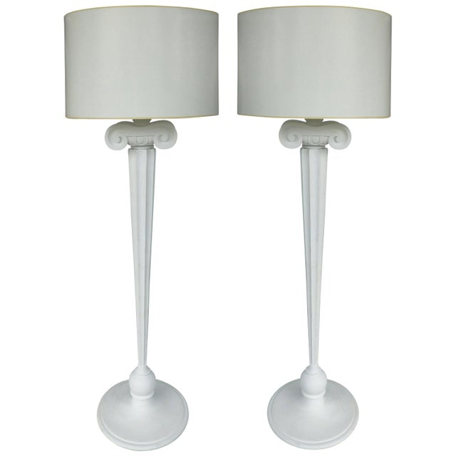 Carved Wood Ionic Column Floor Lamps From the Eden Roc Hotel in Miami Beach For Sale In Miami - Image 6 of 6