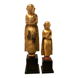 Modern Asian Statues Holding Offerings- a Pair For Sale