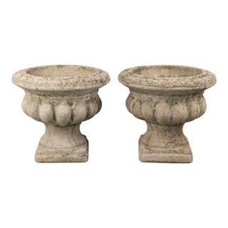 Vintage French Concrete Urns - a Pair For Sale
