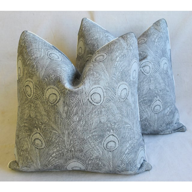 "Peacock Feather Linen Feather/Down Pillows 21"" Square - Pair For Sale - Image 12 of 13"