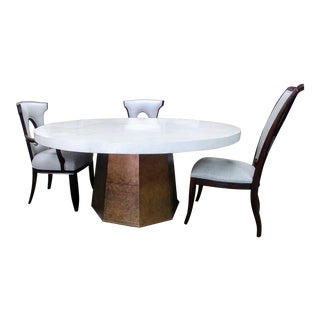 1f8f80b1e65873 Hollywood Regency Henredon Furniture Park Avenue Ivy Round Oyster White  Stone Top & Gold Dining Table
