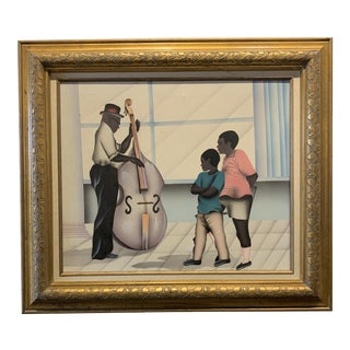Postmodern Jazz Painting in Gold Wood Frame For Sale