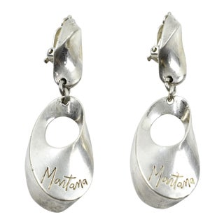 Claude Montana French Modernist Silver Plate Dangling Clip on Earrings For Sale