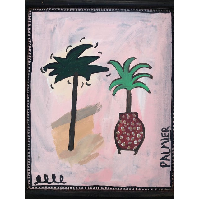 Original pink and green abstract acrylic on canvas by artist Virginia Chamlee. Features two palm trees with the word...