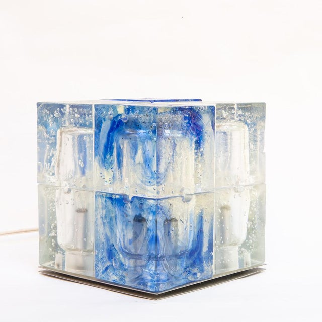 Modern Italian Glass Cube Light by Poliarte For Sale - Image 3 of 6