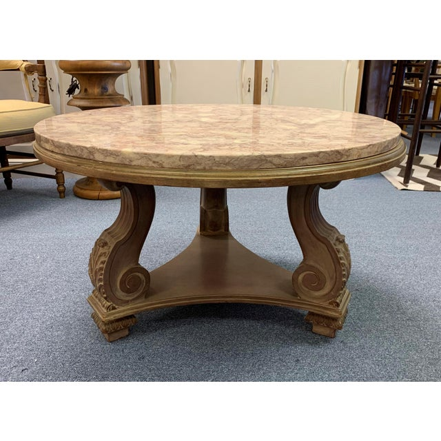 1950s Hollywood Regency Convertible Marble Top Cocktail Table For Sale In West Palm - Image 6 of 13