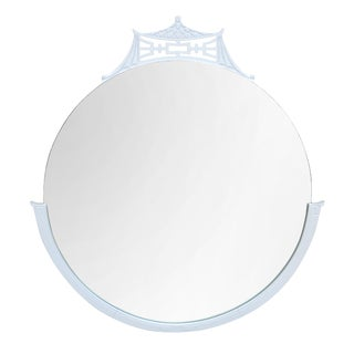 White Round Chinoiserie Pagoda Mirror For Sale
