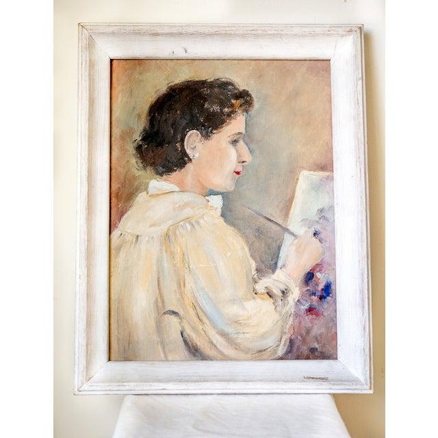 1940s Woman Oil Painter Portrait on Canvas - Image 2 of 6