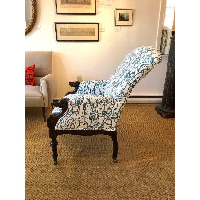 Late 19th Century Victorian Lounge Chair With Carved Dog Head Armrests For Sale - Image 9 of 13