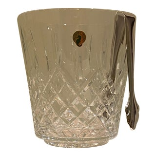 2000s Waterford Crystal Ice Bucket in Lismore Pattern With Tongs For Sale