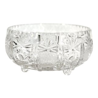Brilliant Cut Crystal Footed Round Centerpiece Bowl For Sale