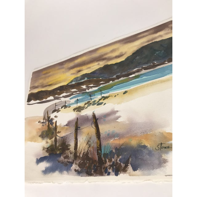 Original Unframed Watercolor Seascape Painting For Sale - Image 4 of 5