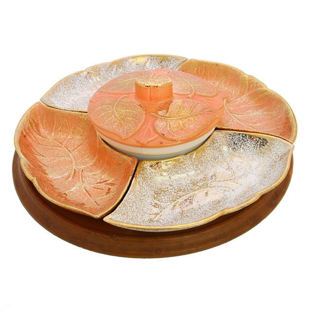 Vintage Lazy Susan with Golden Ceramic Leaf Dishes - Image 2 of 5