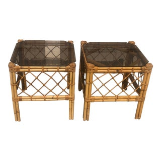 Boho Chic Bamboo & Smoked Glass Side Tables - a Pair For Sale