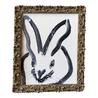 White and Black Bunny in Gold Frame by Hunt Slonem For Sale