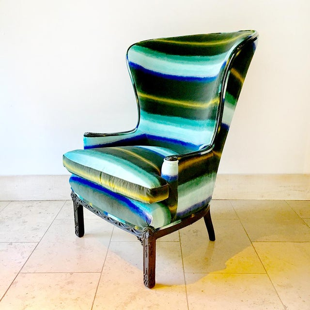 Cotton Regency Inspired Wingback Chair With Buttoned Upholstery For Sale - Image 7 of 7