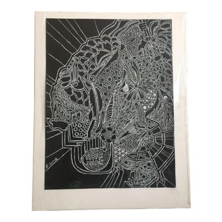Ali Royer Black and White Abstract Drawing For Sale