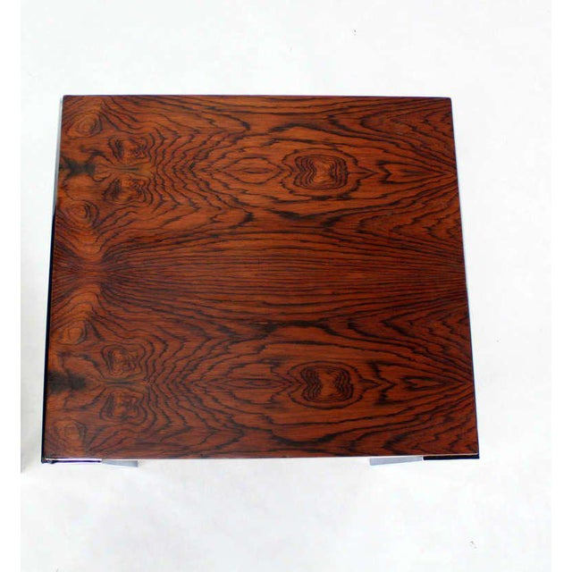 Early 20th Century Pair of Baughman Rosewood & Chrome Mid-Century Modern End Tables For Sale - Image 5 of 8
