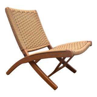 Hans Wegner Style Danish Folding Rope Chair For Sale