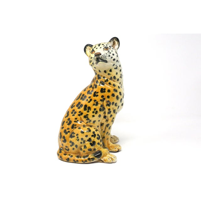 Vintage Italian Cheetah Hand-Painted Majolica Ceramic Leopard Figure For Sale - Image 12 of 12