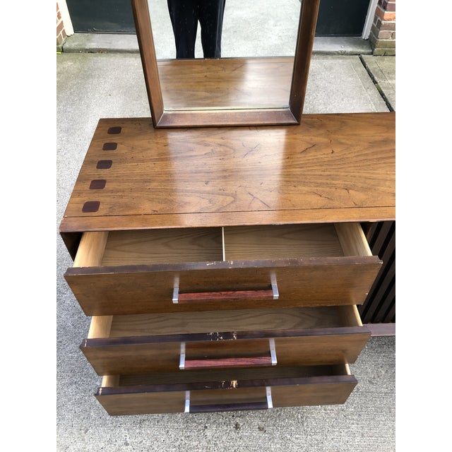 1960s 1960s Vintage Mid Century Lane Brutalist Dresser With Mirror For Sale - Image 5 of 13