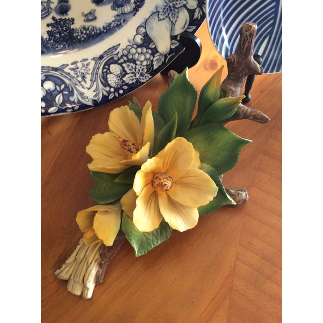1940s Vintage Capodimonte Flower in Yellow For Sale - Image 5 of 10