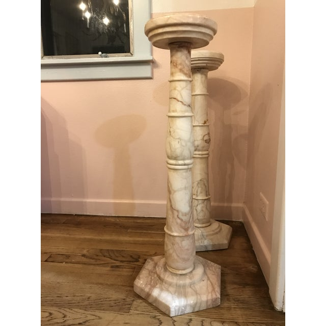 Vintage or antique pink marble. Use as small table, plant stands, shelf support, or nightstands in a small space bedroom....