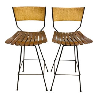 Vintage 1960's Arthur Umanoff Paper Cord and Wood Slat Barstools-Pair For Sale