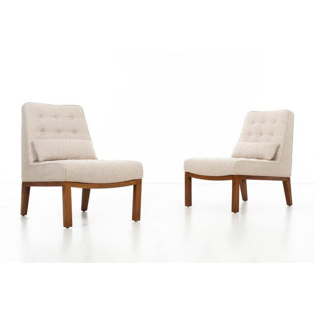 Edward Wormley (1907 - 1995) Model no. 5000a Pair of tufted-back slipper chairs with lumbar pillows, raised on four-legged...