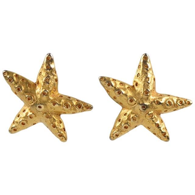 Christian Lacroix Paris Oversized Gilt Metal Starfish Clip on Earrings For Sale