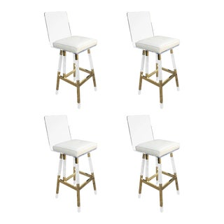 Charles Hollis Jones Barstools in Lucite and Polished Brass - Set of 4 For Sale