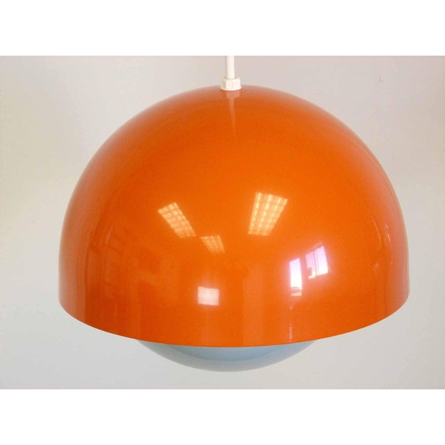 Orange Dome Mid-Century Pendant Lamp For Sale - Image 4 of 9