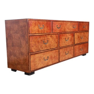 John Widdicomb Mid-Century Modern Hollywood Regency Campaign Burl Wood Long Dresser or Credenza For Sale