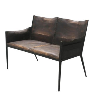 Iron and Leather Settee, in the Manner of Jean-Michel Frank, France For Sale