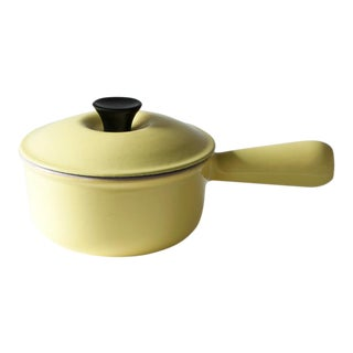 French Le Creuset Lemon Yellow Lidded Small Saucepan