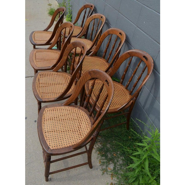 Dining Room Chairs With Caned Seats. Victorian Windsor Bow Back Style. Set of 8. For Sale In Madison - Image 6 of 13