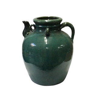 Chinese Vintage Dark Green Glaze Round Ceramic Jar