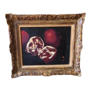 1980s Signed and Dated Pomegranate Oil on Canvas Painting For Sale