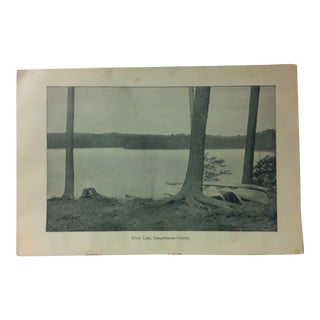 "Vintage Print of an American Lake, ""Silver Lake - Susquehanna County"", Circa 1930 For Sale"