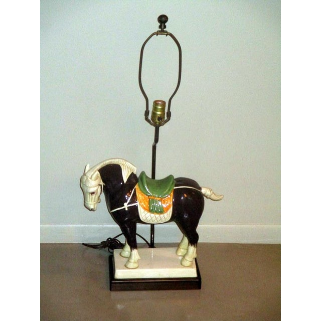 Vintage Chinese Tang Style Ceramic Horse Table Lamp For Sale - Image 10 of 10