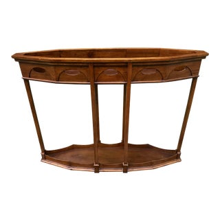 Vintage Console Table Ornate Walnut W/Recessed Top For Sale