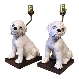 Mid-Century Hand Painted Ceramic Bulldog Table Lamps - a Pair