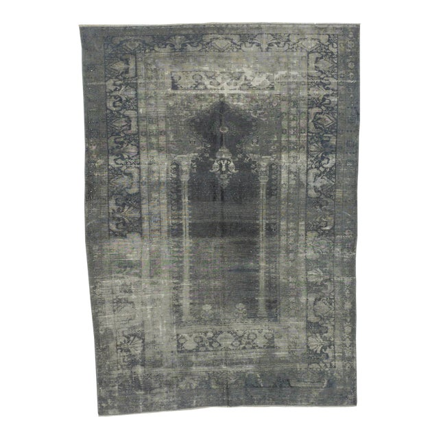 Vintage Artificial Silk Gray Overdyed Turkish Rug - 4′1″ × 5′9″ For Sale
