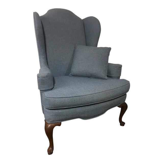 Queen Anne Style Blue Upholstered Wingback Chair - Image 1 of 6