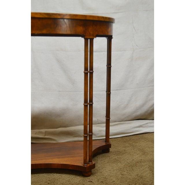 Baker Vintage Burl Wood & Walnut Demilune Console Table For Sale In Philadelphia - Image 6 of 13