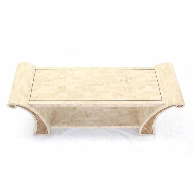 Mid-Century Modern Maitland Smith Tessellated Stone Veneer Console Table For Sale - Image 3 of 7
