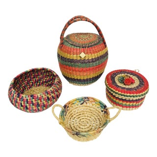 Hand-Woven Baskets - Set of 4