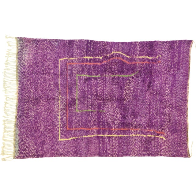 Purple Berber Contemporary Moroccan Rug - 06'10 X 10'00 For Sale - Image 9 of 10