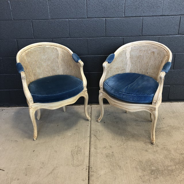 """French Louis XV style barrel back caned bergere chairs with velvet cushions and arm accent. Made in the 1960s. 25"""" wide x..."""